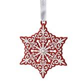 Елочное украшение Pierced Snowflake Red